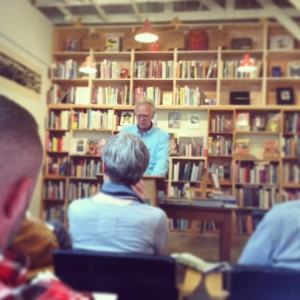"Steve reads his short story, ""Duboce Park, 1969"" at Alley Cat Books in San Francisco, May 19, 2013. (Photo credit: Beth Williams)"